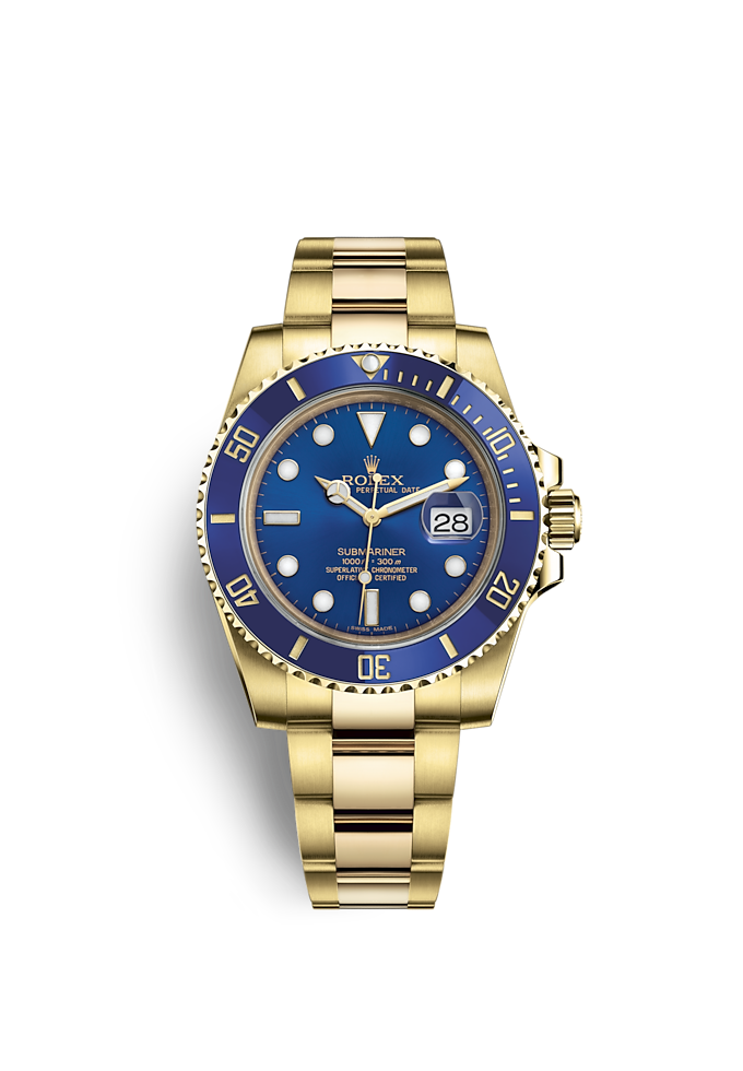 Submariner Date, Oyster, 40 mm, emas kuning