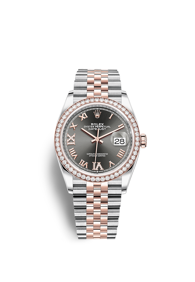Datejust 36, Oyster, 36 mm, acier Oystersteel, or Everose et diamants