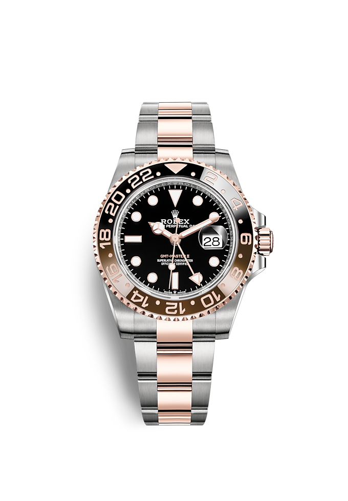 GMT-Master II, Oyster, 40 mm, aço Oystersteel e ouro Everose