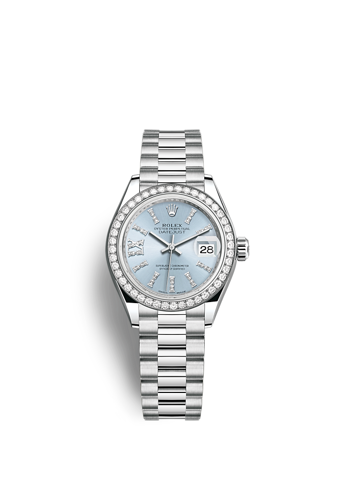 Lady-Datejust, Oyster, 28 mm, platina en diamanten