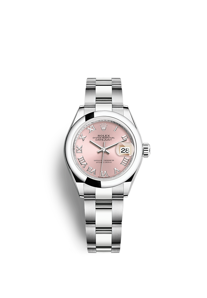 Lady-Datejust, Oyster, 28 mm, Oystersteel-staal
