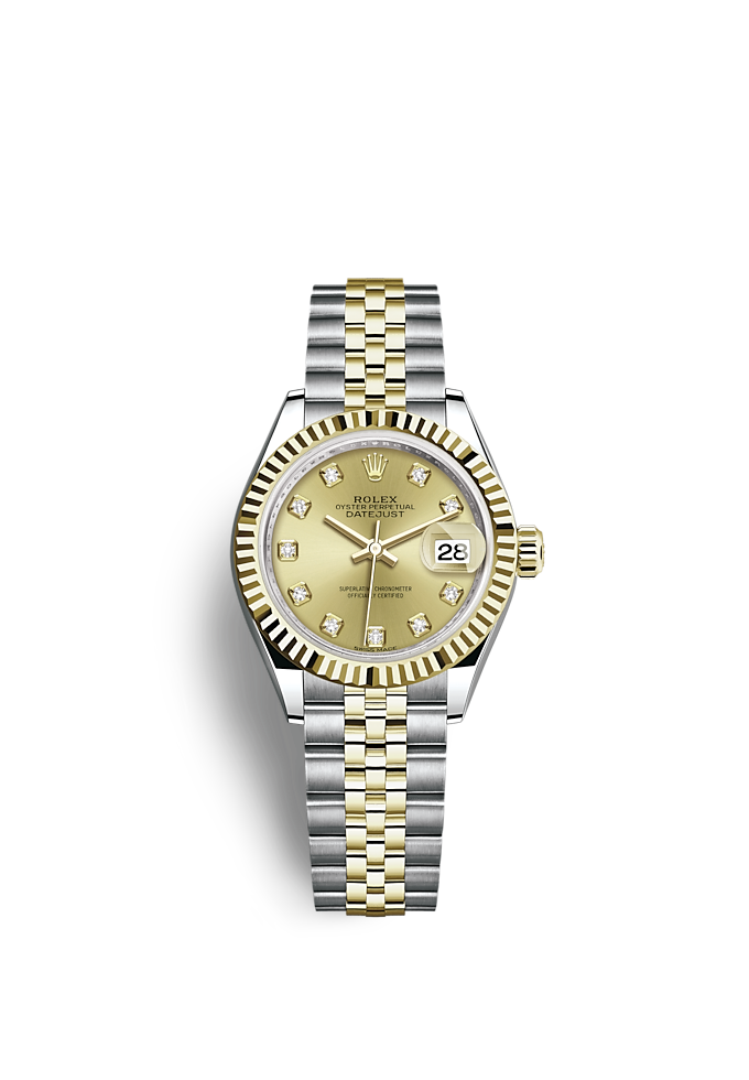 Lady-Datejust, Oyster, 28 mm, Oystersteel-staal en geelgoud
