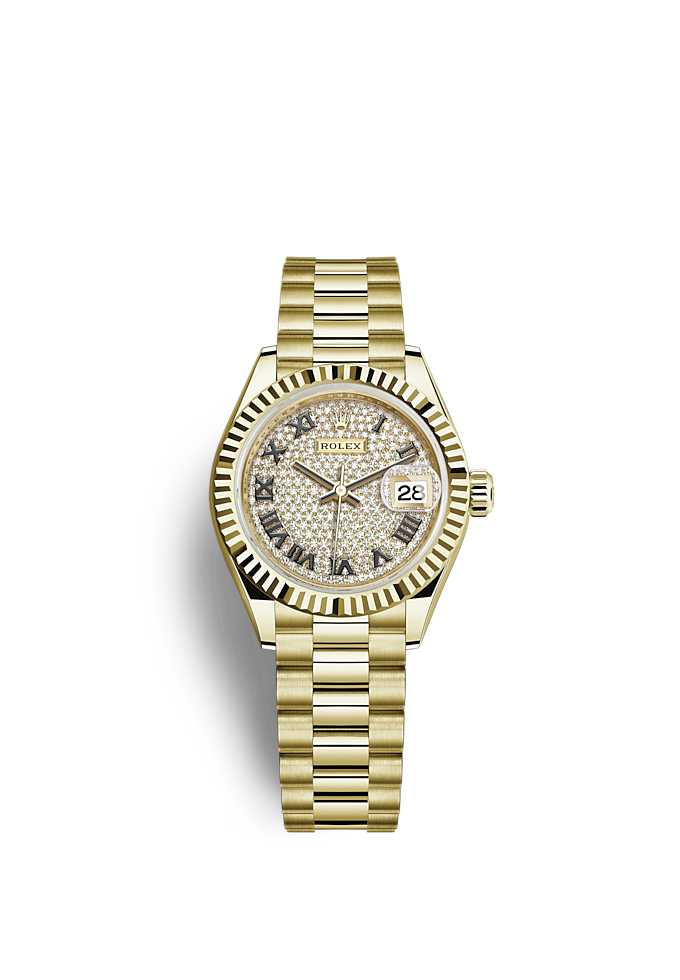 Lady-Datejust, Oyster, 28 mm, geelgoud