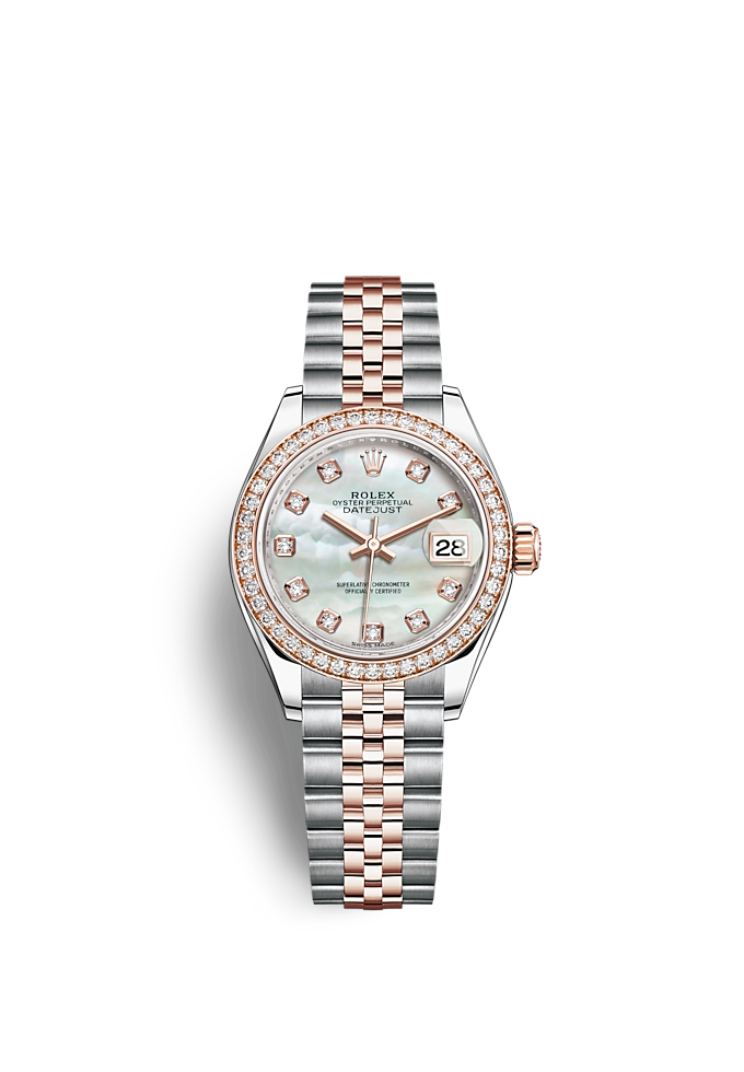 Lady-Datejust, Oyster, 28 mm, Oystersteel-staal, Everose-goud en diamanten