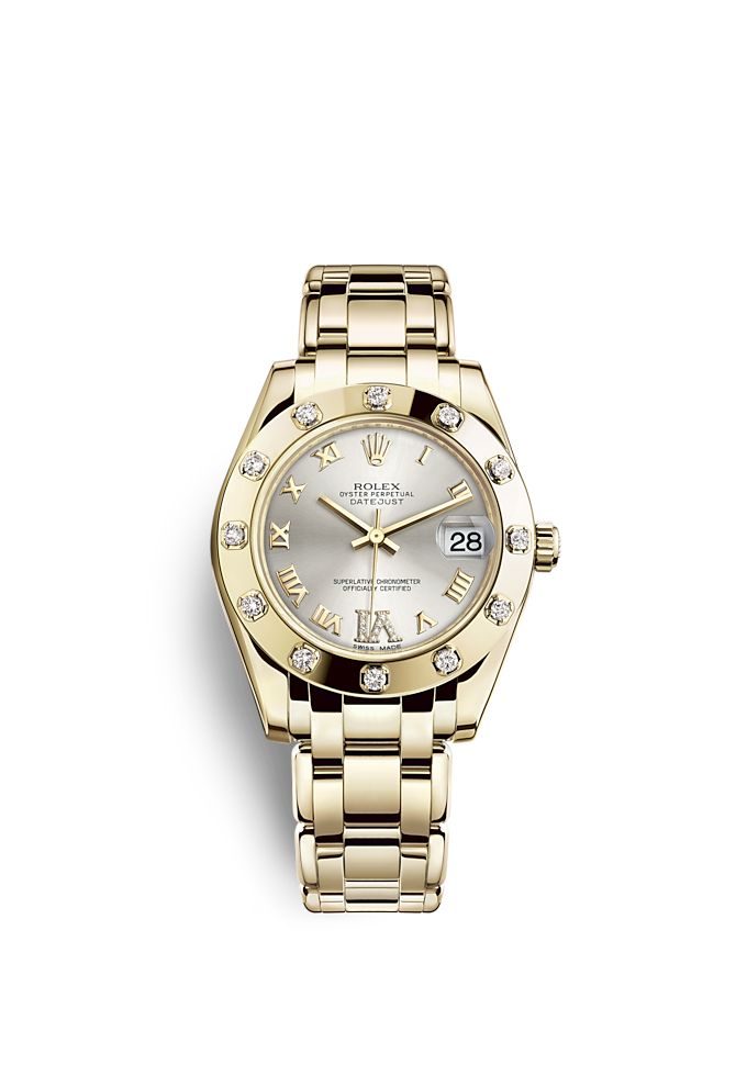 Pearlmaster 34, Oyster, 34 mm, yellow gold and diamonds