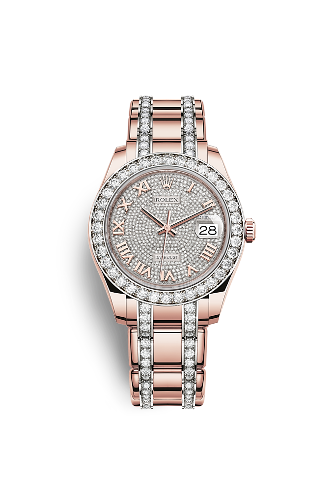 Pearlmaster 39, Oyster, 39 mm, ouro Everose e diamantes