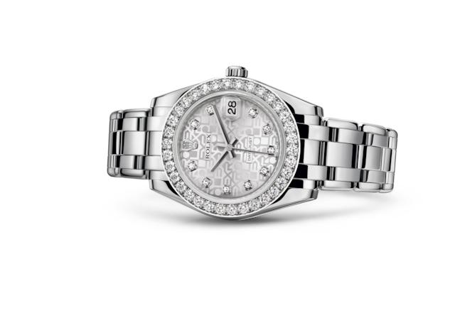Pearlmaster 34 - 银色纪念花纹镶有钻石, 钻石及白色黄金